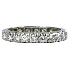 Vintage Platinum Diamond 1.60ctw Eternity Wedding Band Ring