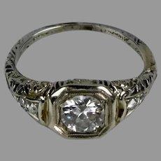 Art Deco Diamond 1.00ct 18K White Gold Filigree Engagement Ring
