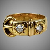Antique English Victorian 18K Gold Diamond Buckle Ring