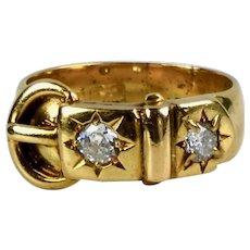 Antique English Victorian 18K Gold Diamond Buckle Ring