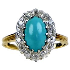 Victorian 14K Diamond & Turquoise Ring