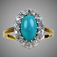 Victorian 14K Diamond & Turquoise Ring