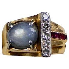 Retro c1940s 14K Rose Gold Star Sapphire Ruby Diamond Ring