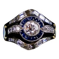 Art Deco Platinum Diamond Sapphire Engagement Wedding Ring Set