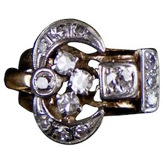 Retro c1940s 14K Rose Gold Diamond Ring