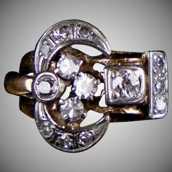 Retro c1940s 14K Rose Gold Diamond Ring