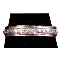 Vintage Rose Gold & Platinum Diamond Eternity Band Ring
