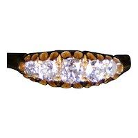 Antique Victorian 18K Gold 5 Diamond Band Ring