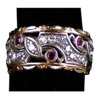 Gorgeous Retro 14K Rose Gold Diamonds Rubies Band Ring