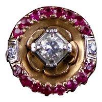Stunning Mid-Century 14K Rose Gold Diamond Ruby Ring