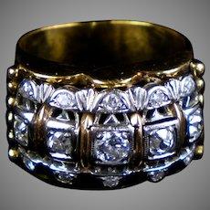 Retro c1940s 14K Rose Gold Chunky Diamond Ring