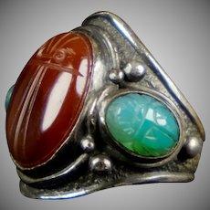 Huge Egyptian Revival Sterling Onyx Scarab Ring
