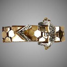 Flexible 14K Rose Gold Diamond Buckle Ring