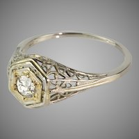 Art Deco 18K  White Gold Filigree Diamond Engagement Ring