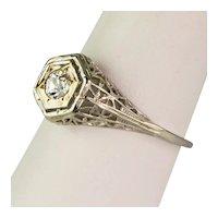 Art Deco 18K Gold Filigree Diamond Engagement Ring