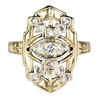 Unique Art Deco 14K Yellow & White Gold Diamond Ring