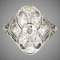Edwardian Large Filigree Platinum Diamond Ring