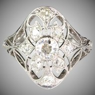 Vintage Art Deco Filigree Platinum Diamond Ring 1.20ctw  Gorgeous Openwork Design