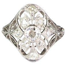 Vintage Art Deco Filigree Platinum Diamond Ring 1.20ctw  Gorgeous Openwork Design