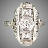 Art Deco Platinum Diamond Dinner Ring Lots of Sparkle