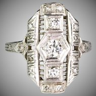 Art Deco Platinum Diamond .50ctw Dinner Ring   Full of Sparkle  Lovely Delicate Design