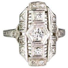 Art Deco Platinum Diamond .50ctw Dinner Ring   Full of Sparkle  Lovely Delicate Design