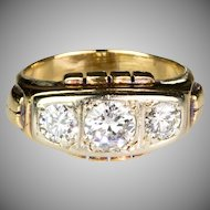 Chunky Retro 18K Rose Gold Ring  3 Large Diamonds 1.60ctw  Unisex  STUNNING DESIGN
