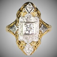 Art Deco Yellow & White14K Gold Diamond Dinner Ring   Very Unique   Lovely Design   RARE