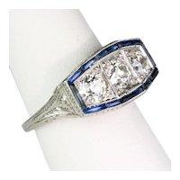 Sensational Art Deco Platinum Diamond Sapphire Ring