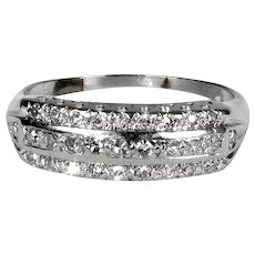 Art Deco 14K White Gold 3 Row Diamond Band Ring