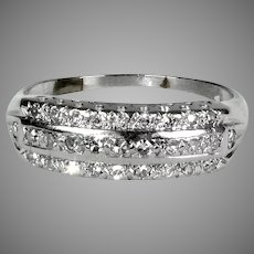 Art Deco 14K White Gold 3 Row Diamond Band Ring