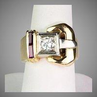 Chunky Retro 14K Gold Ruby Diamond Buckle Ring  Unisex