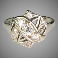 Art Deco 14K White Gold Diamond Ring UnusualDesign