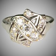 Vintage Art Deco 14K White Gold Diamond Ring Full of Sparkle   Unusual & Beautiful Design