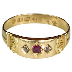 Victorian 18K Gold Rose Diamond & Ruby Ring English Hallmarks