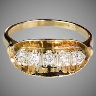 Vintage Art Deco 14K Yellow & White Gold 5-Diamond Ring  Lovely  Unique Design