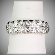 Art Deco Platinum Band Ring Double Row of Diamonds 1.40ctw Sparkle Galore
