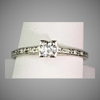 1930s Art Deco 18K Gold Diamond .30ct Engagement Ring