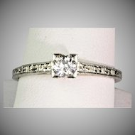 1930s Art Deco Diamond .30 ct Engagement Ring  18K White Gold  Delicate & Lovely