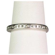 Art Deco Platinum Multi Diamond Band Ring  Channel Set  Sparkles  Lovely Delicate Design