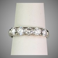 Art Deco 14K White Gold Diamond 1.00ctw Band Ring