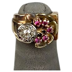 Chunky Retro c1940s 14K Rose Gold Ruby & Diamond Pinky Ring    Tree of Life    STUNNING