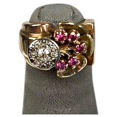 Chunky Retro c1940s 14K Rose Gold Ruby & Diamond Pinky Ring    Tree of Life    STUNNING