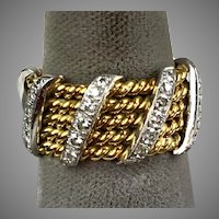 Stunning Wide 14K Gold & Platinum Diamonds Eternity Band Ring