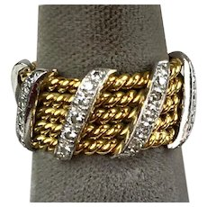 Stunning Vintage 14K Gold & Platinum Diamonds Eternity Band Ring  Twisted Gold with Diamond Cross Bands