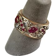 Unusual Retro 14K Rose & White Gold Diamonds Scarab Rubies Eternity Band Ring    Wide   RARE
