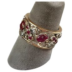 Unusual Retro 14K Rose & White Gold Diamonds Scarab Rubies Eternity Band Ring    Wide   RARE - Red Tag Sale Item
