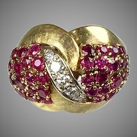 Stunning Vintage 14K Gold Diamonds Rubies Cocktail Ring