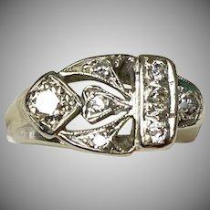 Retro c1940s 14K White Gold Diamond Ring. Unisex