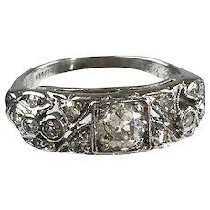 Elegant Art Deco Platinum Diamond Band Ring